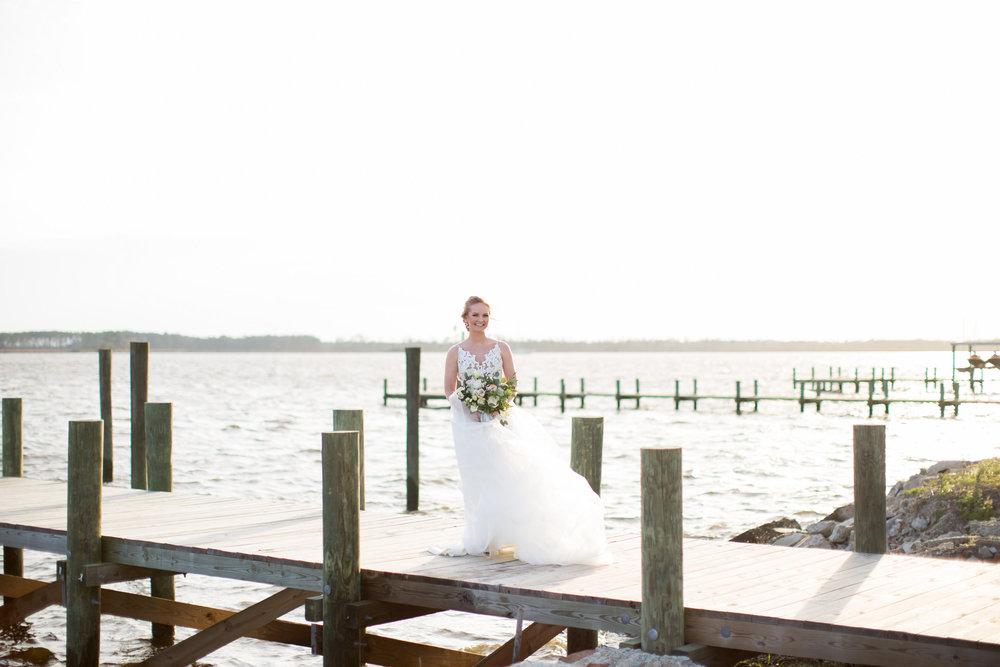 Coastal Inspired Bridal Portraits Belhaven NC Waterfront Bride Bridal Bouquet Bridal Gown