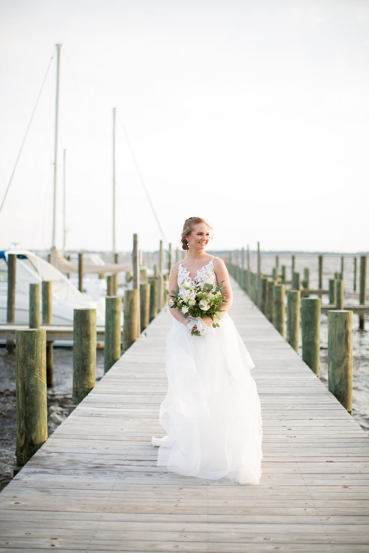 Coastal Inspired Bridal Portraits Belhaven NC Waterfront Bride