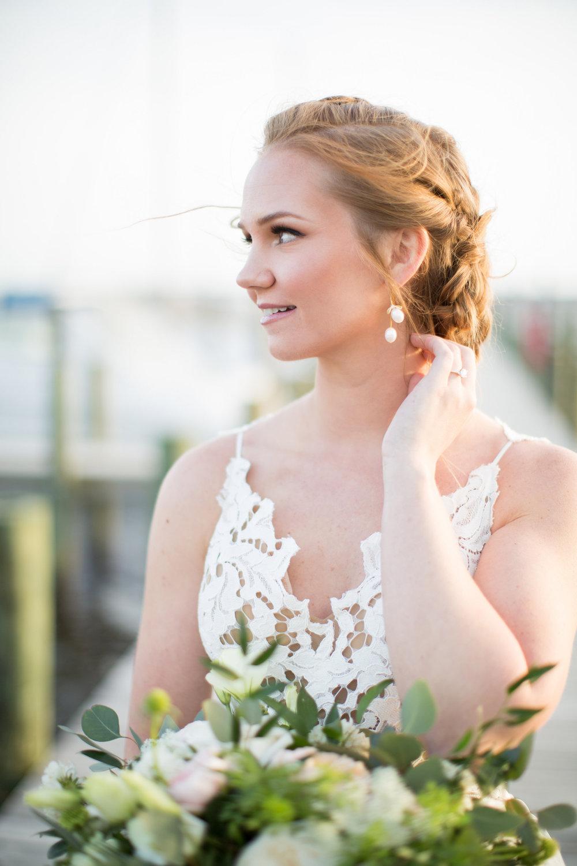 Coastal Inspired Bridal Portraits Belhaven NC Bridal Gown Bridal Makeup
