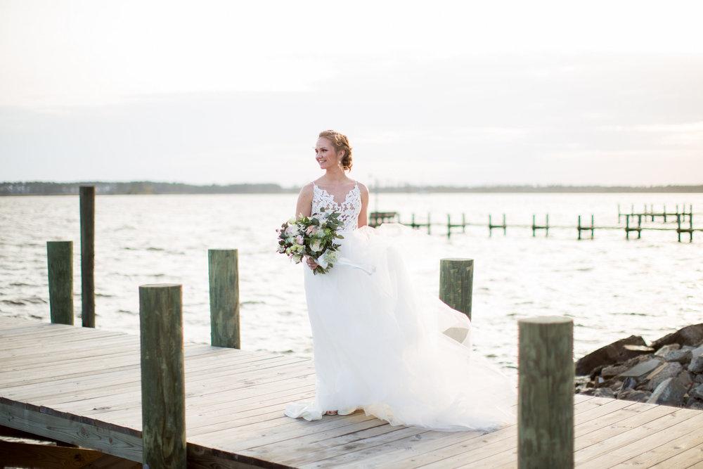 Coastal Inspired Bridal Portraits Belhaven NC Waterfront Bride Hailey Paige Bride