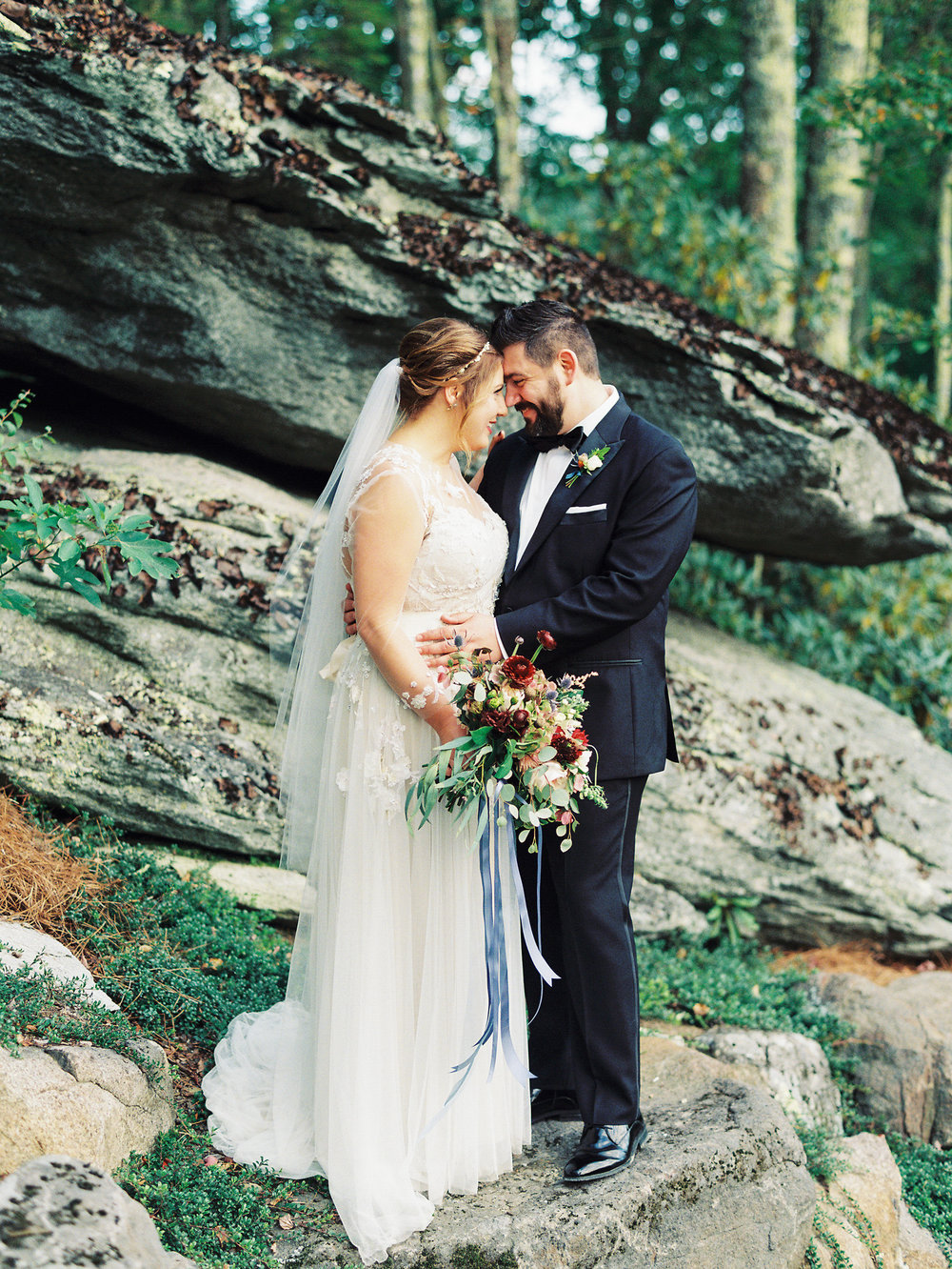 NC Mountain Home Wedding Bride and Groom Wedding Gown Bridal Bouquet