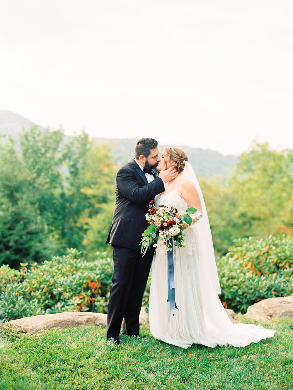 NC Mountain Home Wedding Bride and Groom Bridal Bouquet