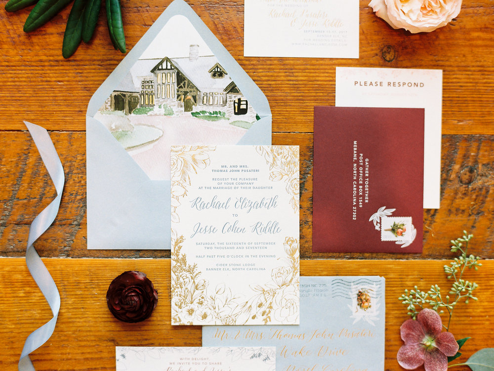 NC Mountain Home Wedding Invitation Suite