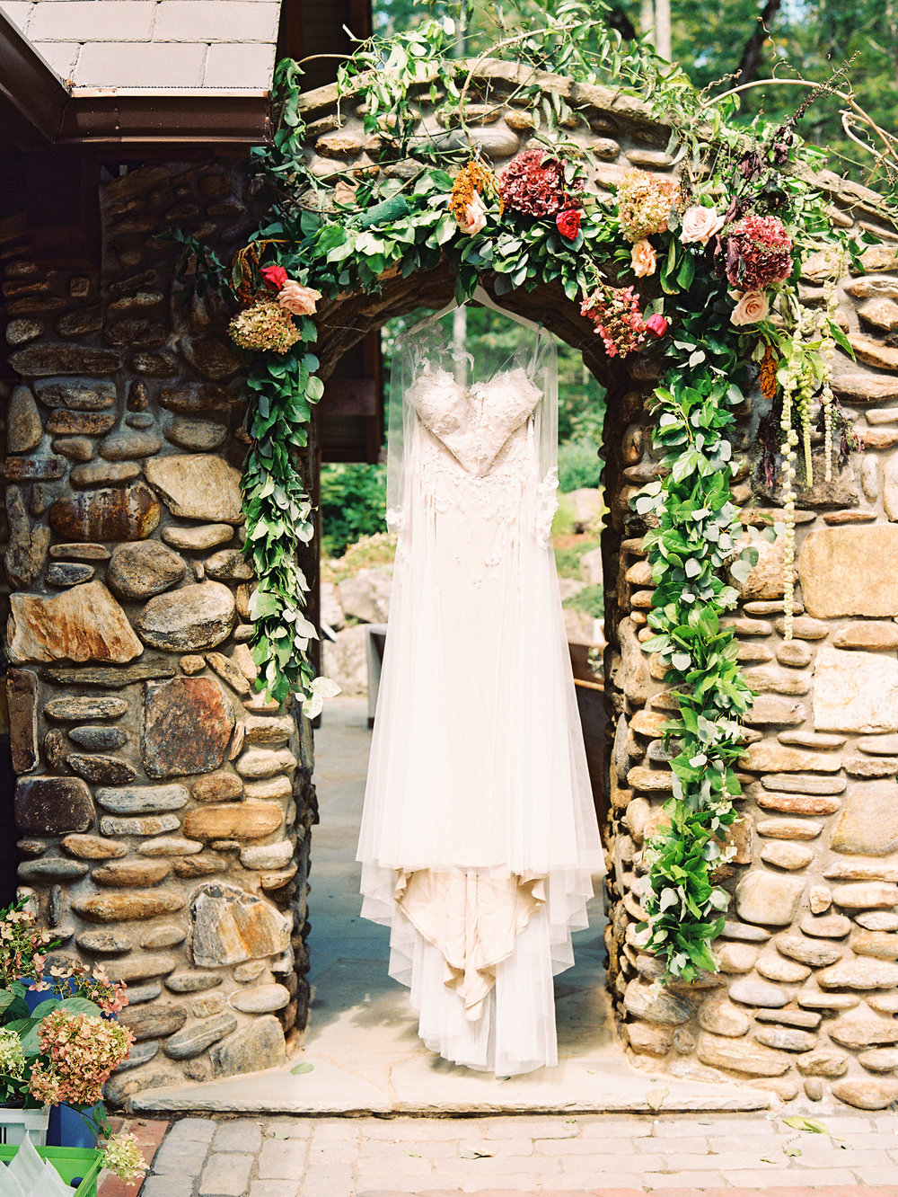 NC Mountain Home Wedding Stone Floral Arch Wedding Dress