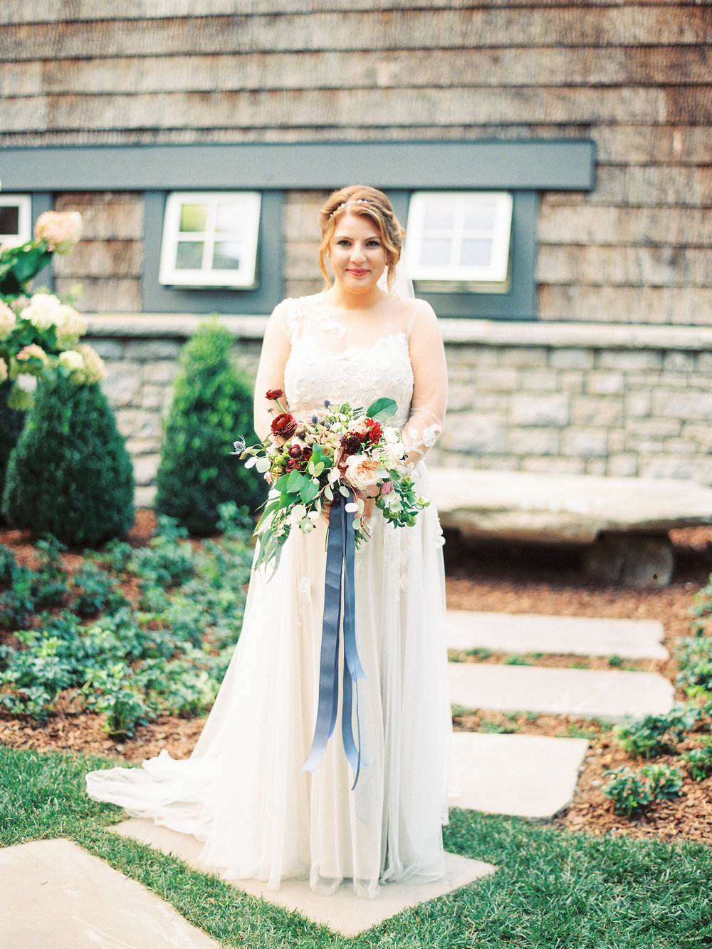 NC Mountain Home Wedding Bride Bridal Gown Bouquet