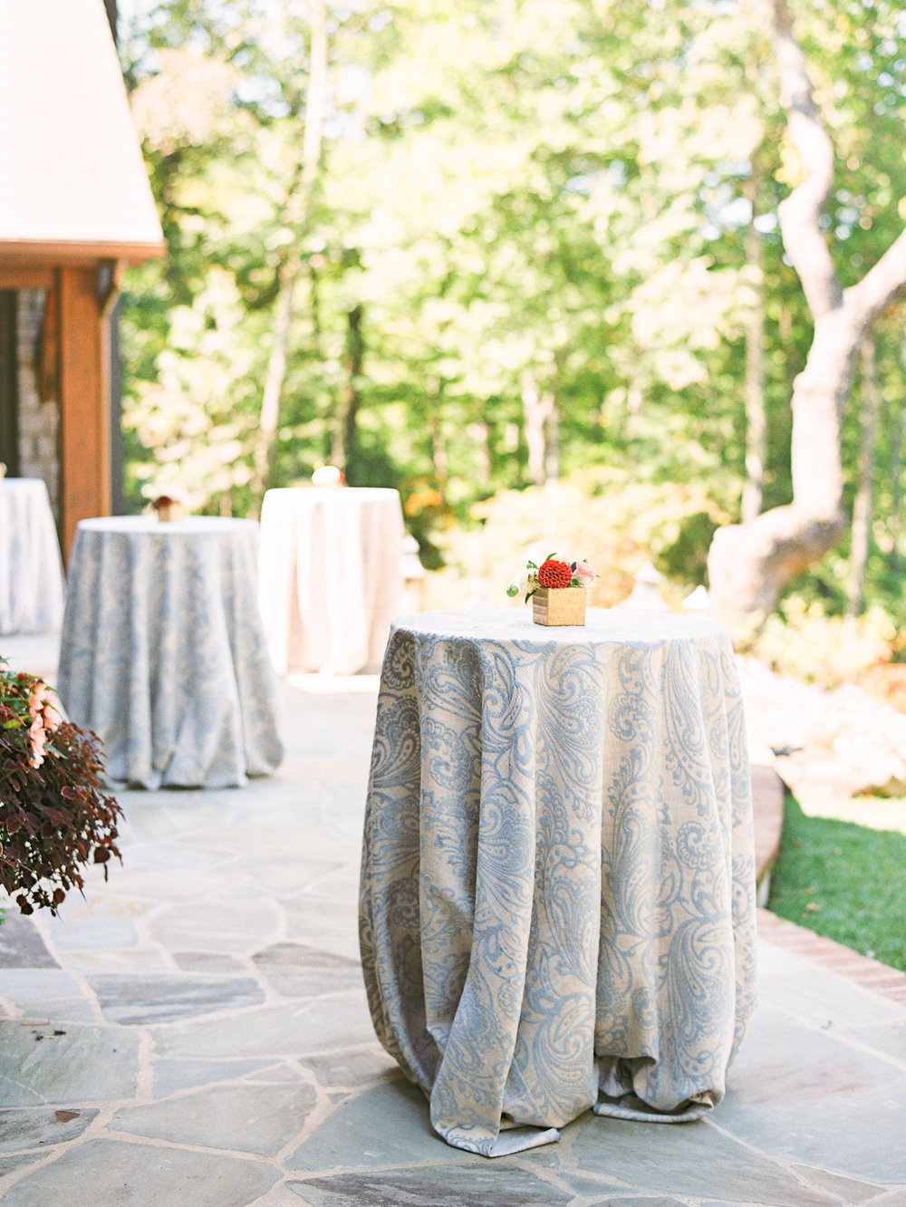NC Mountain Home Wedding Cocktail Tables