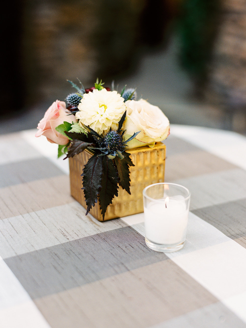 NC Mountain Home Wedding Cocktail Table Linen Floral Arrangement