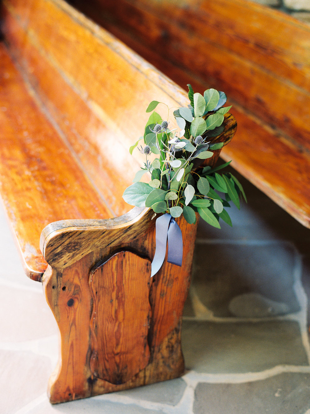 NC Mountain Home Wedding Vintage Ceremony Pew