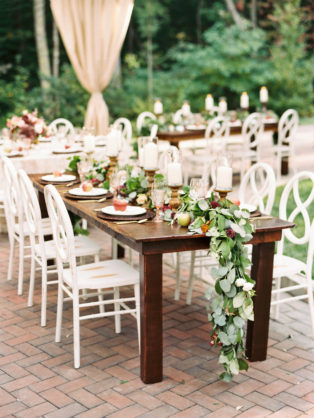 NC Mountain Home Wedding Reception Farm Table Detail