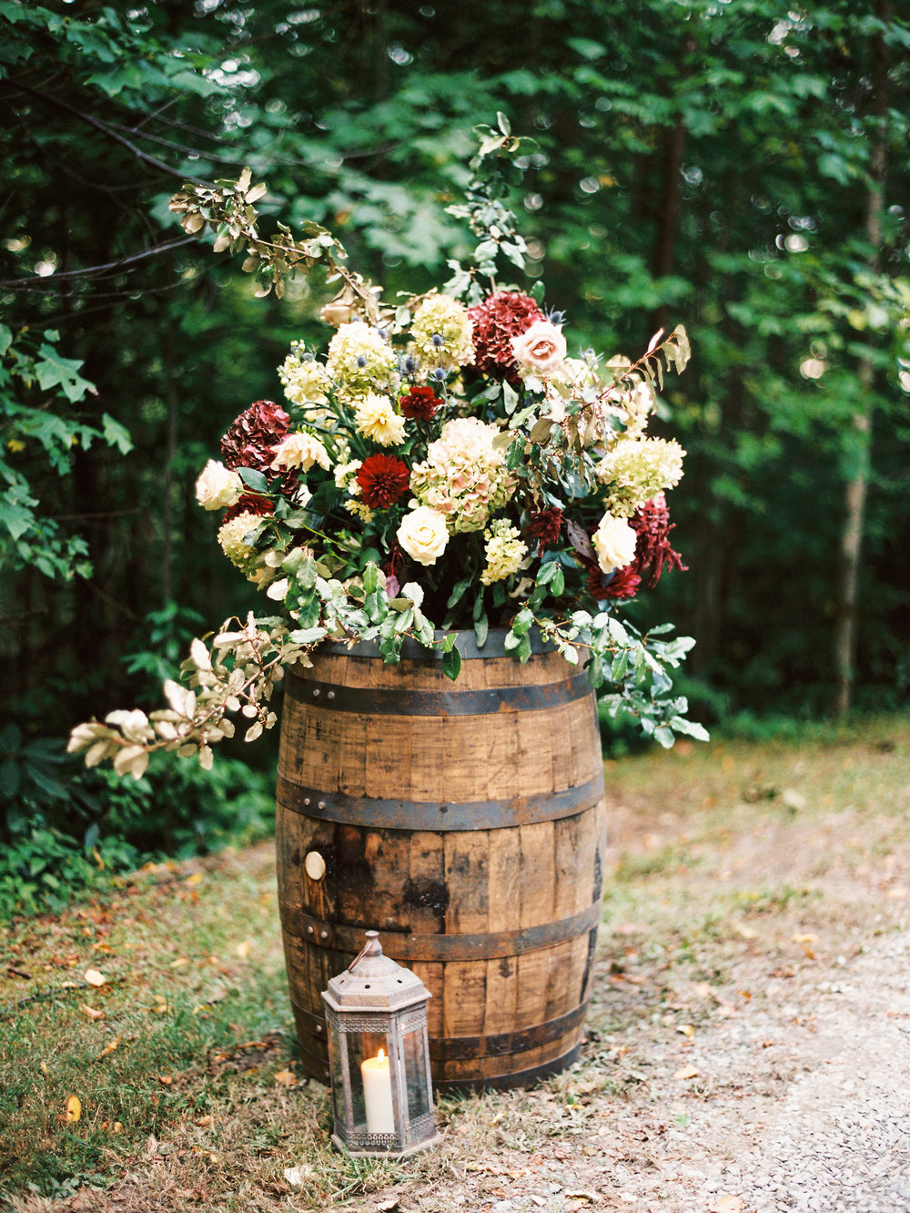 NC Mountain Home Wedding Floral Arrangement Barrel