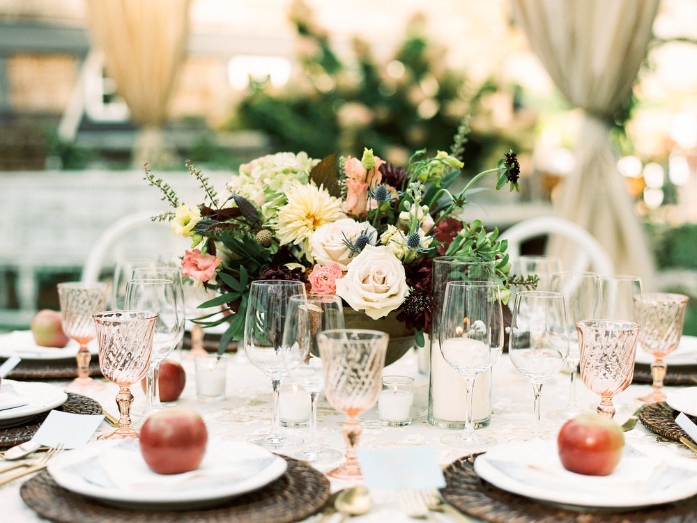 NC Mountain Home Wedding Reception Tablescape Detail