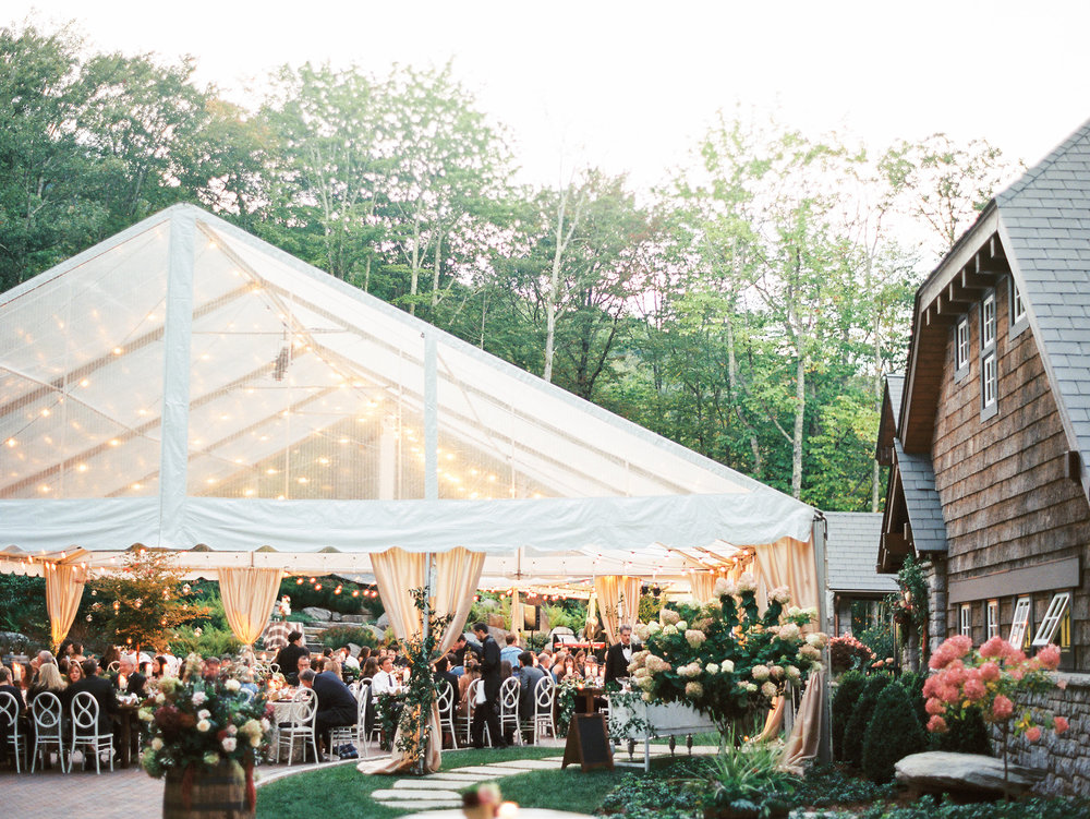 NC Mountain Home Wedding Tented Wedding Reception Florals