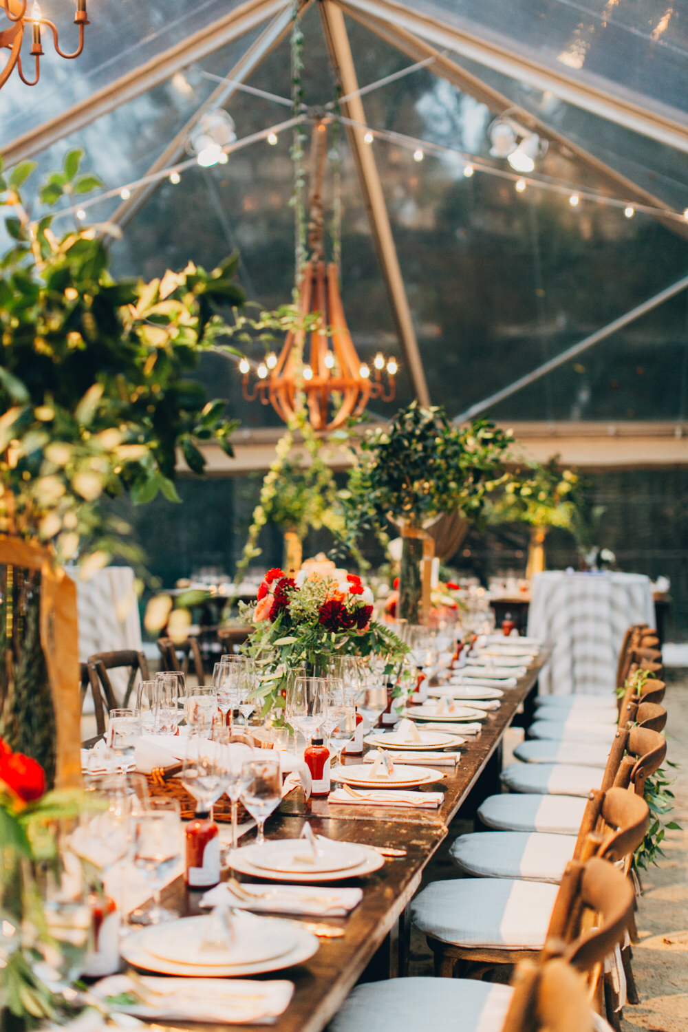 Tented Farm Wedding  Tablescape