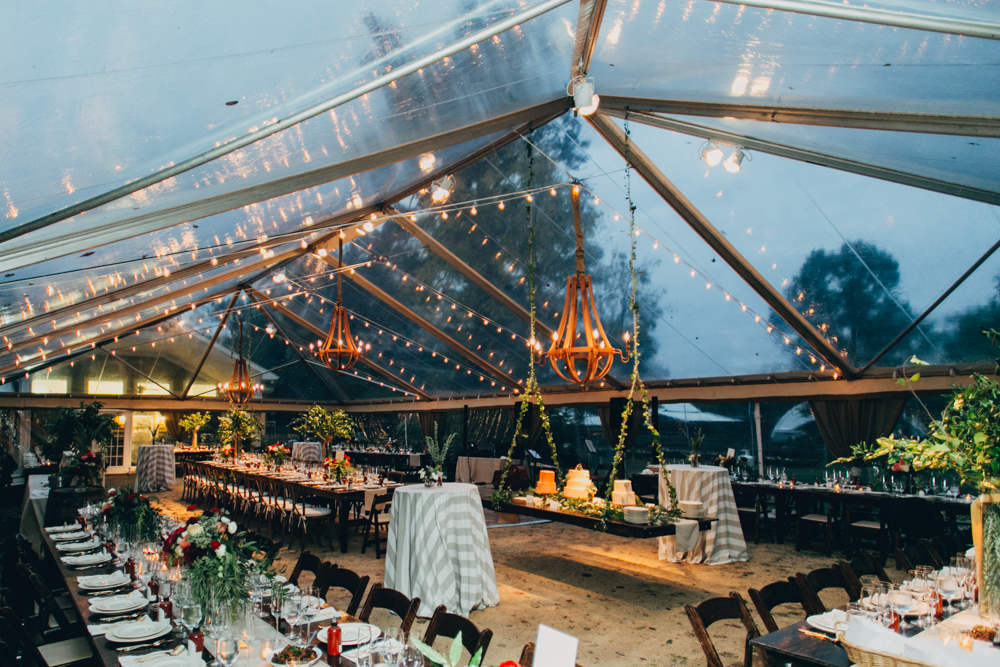 Tented Farm Wedding Tent Shot