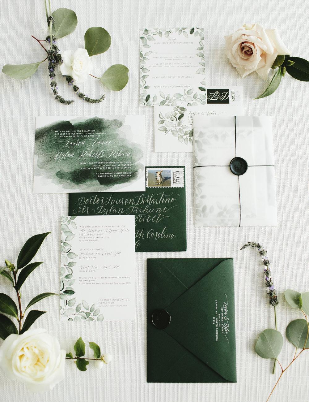 Lauren & Dylan's Restaurant Inspired Wedding Watercolor Invitation Suite