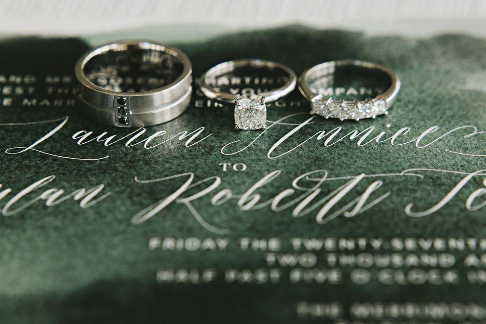 Lauren & Dylan's Restaurant Inspired Wedding Rings