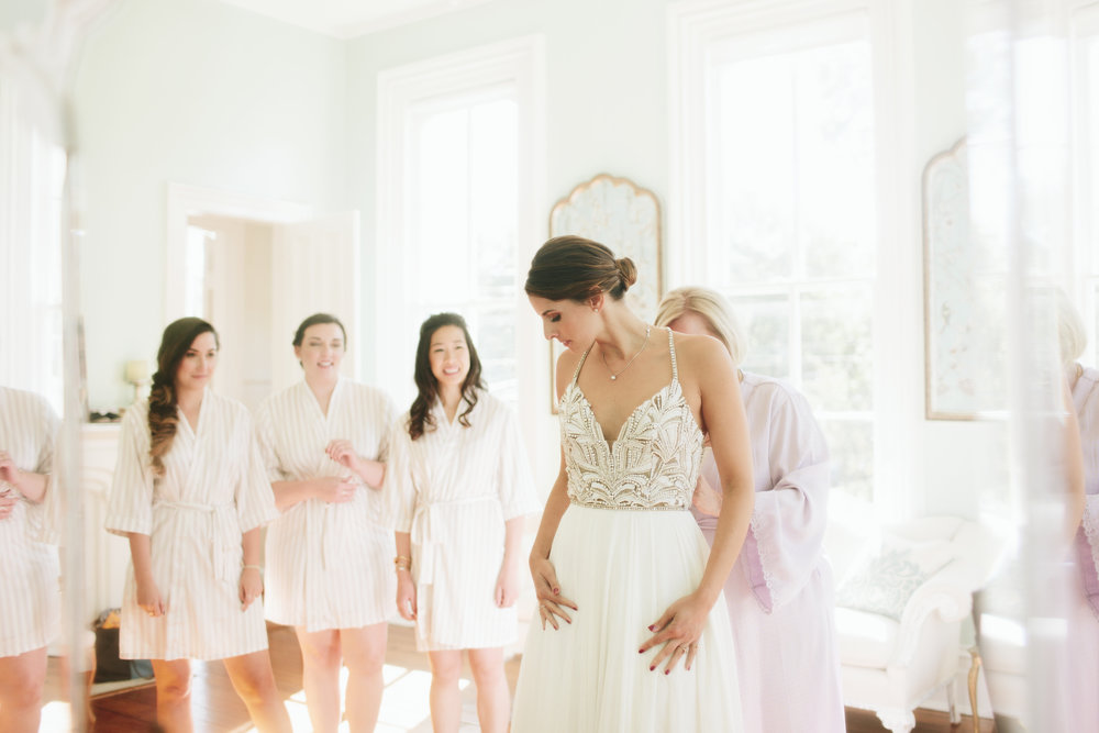 Lauren & Dylan's Restaurant Inspired Wedding Bridesmaids First Look