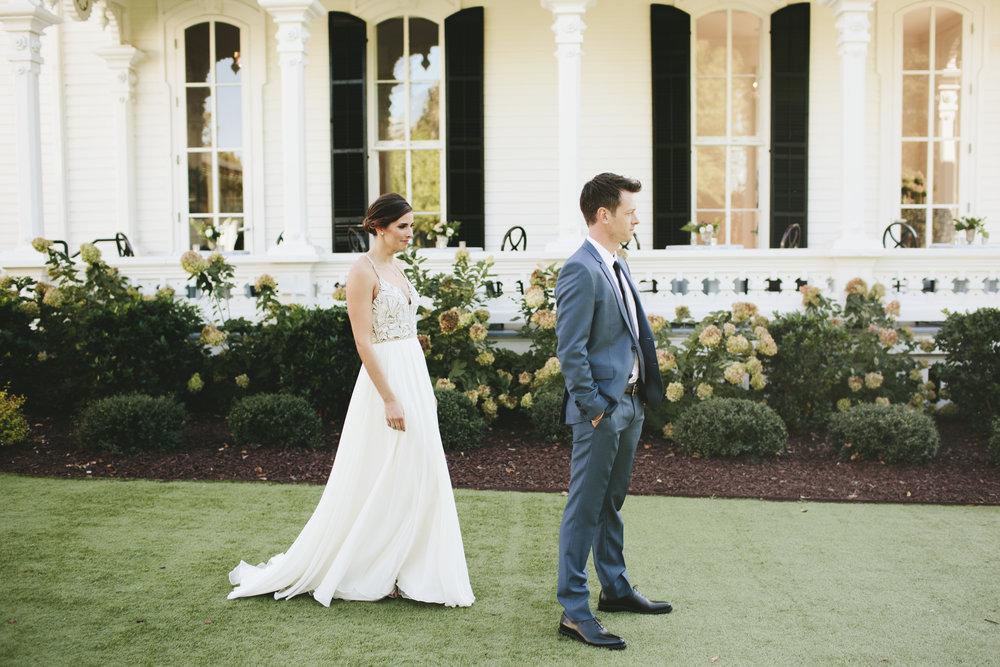Lauren & Dylan's Restaurant Inspired Wedding Bride and Groom First Look
