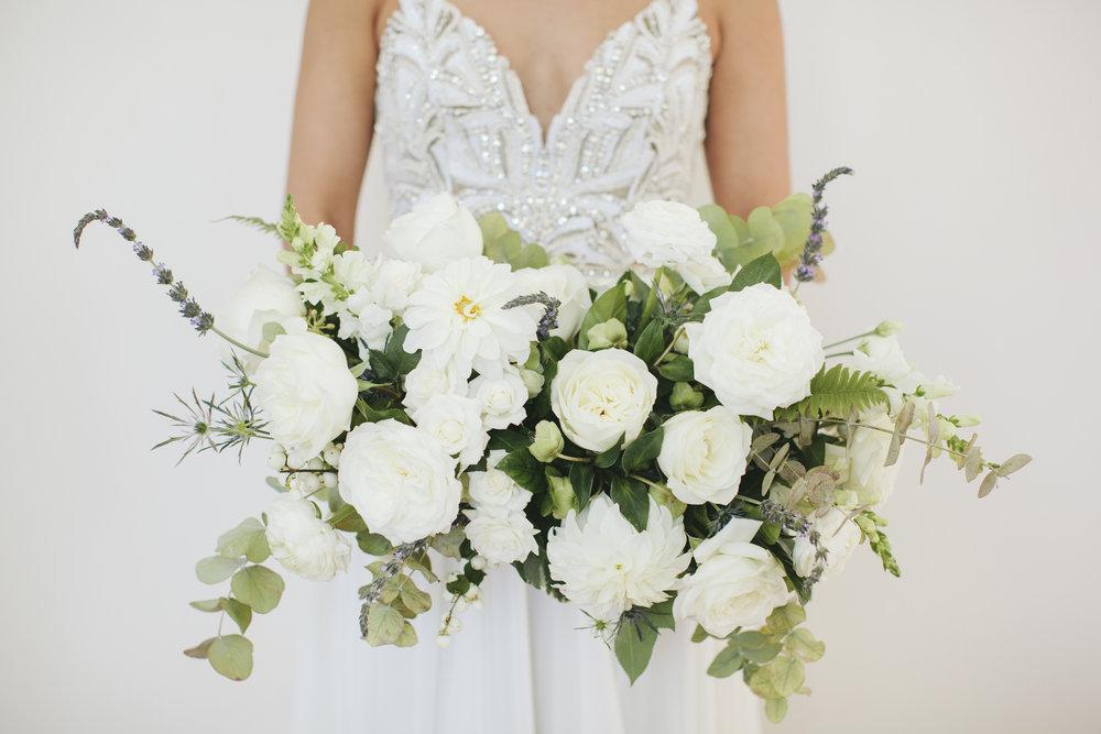 Lauren & Dylan's Restaurant Inspired Wedding Organic and Wild Bridal Bouquet