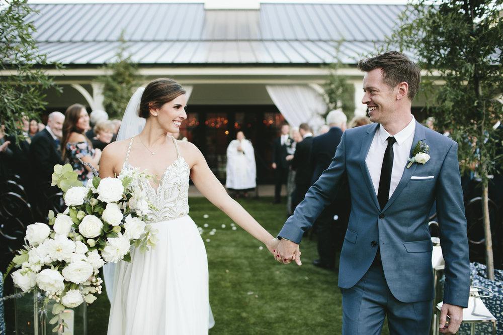 Lauren & Dylan's Restaurant Inspired Wedding Bride and Groom Ceremony