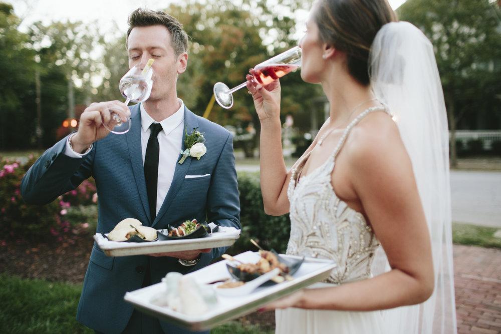Lauren & Dylan's Restaurant Inspired Wedding Bride and Groom Cocktail Hour