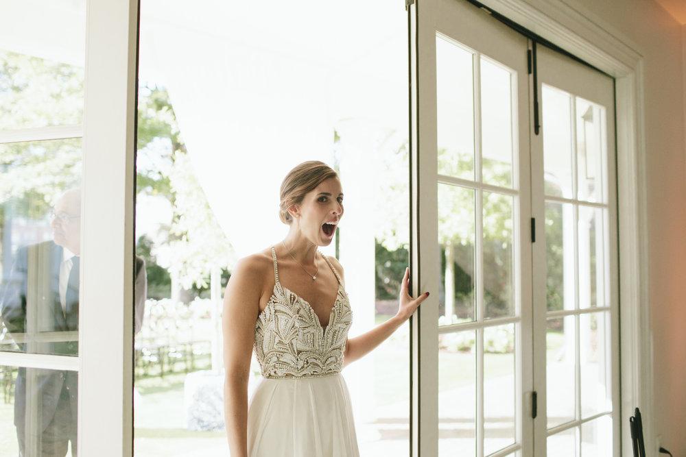 Lauren & Dylan's Restaurant Inspired Wedding Bride's Reaction to Reception