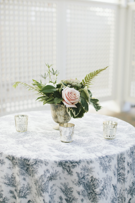 Lauren & Dylan's Restaurant Inspired Wedding Cocktail Table Floral