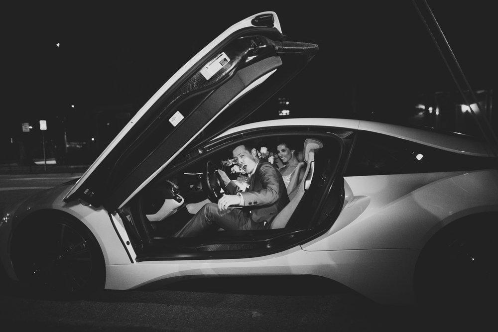 Lauren & Dylan's Restaurant Inspired Wedding Getaway Car