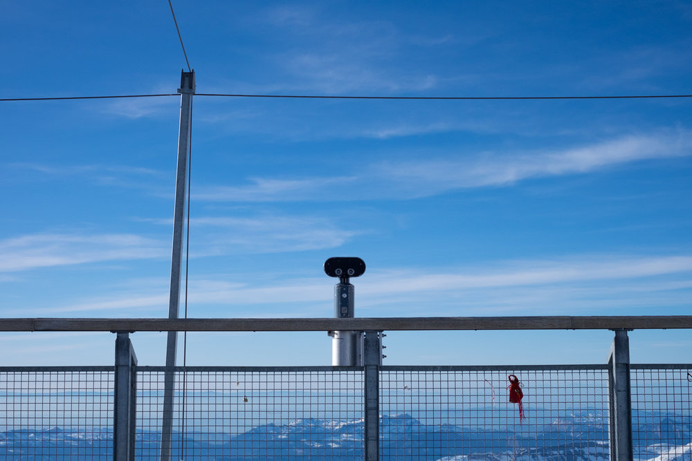 Binoculars available for tourists at the Jungfraujoch Sphinx Observatory main deck