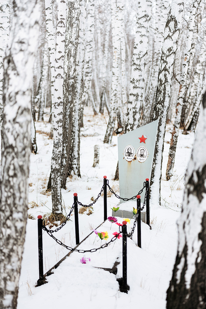 The tomb of Marfa Egorovna and Semen Pavlovich in a forest near the Uval'naya Bitiya village. North of Omsk, Russia.