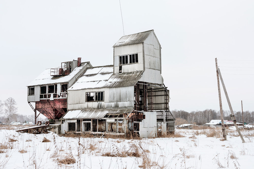 An abandoned agricultural silo north of Omsk, Russia.