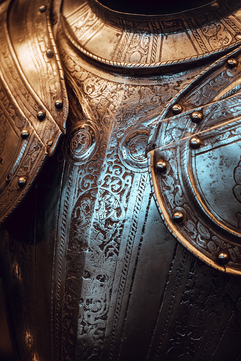 Detail of an ornated medieval armor at the permanent collection of the Musée d'art et d'histoire in Geneva, Switzerland.