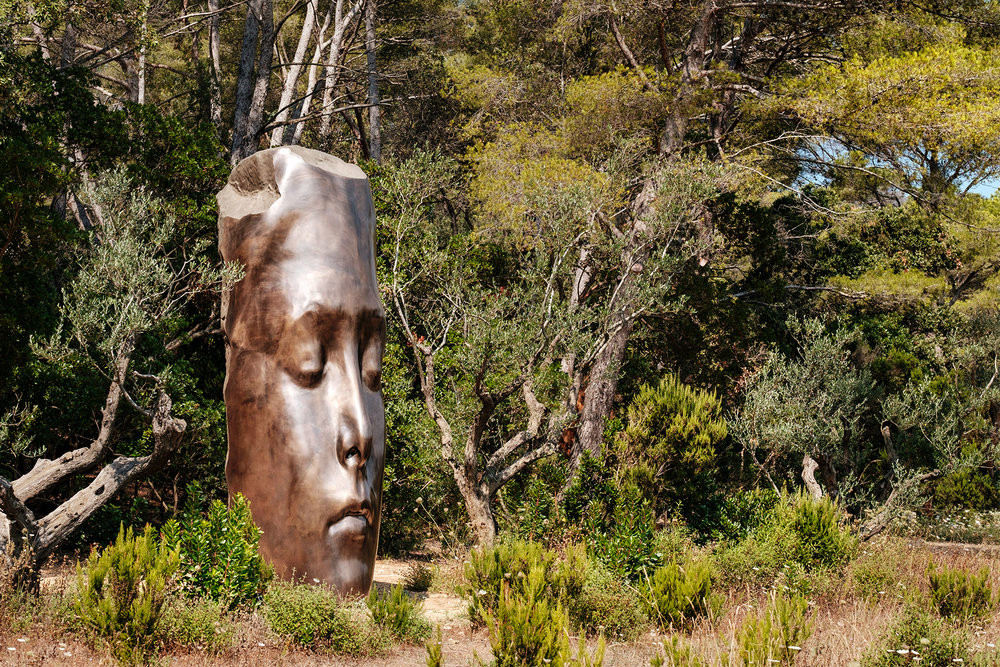 "Jaume Plensa ""Les trois alchimistes"" sculpture at the Fondation Carmignac in the island of Porquerolles, south of France. Shot for Monocle magazine."