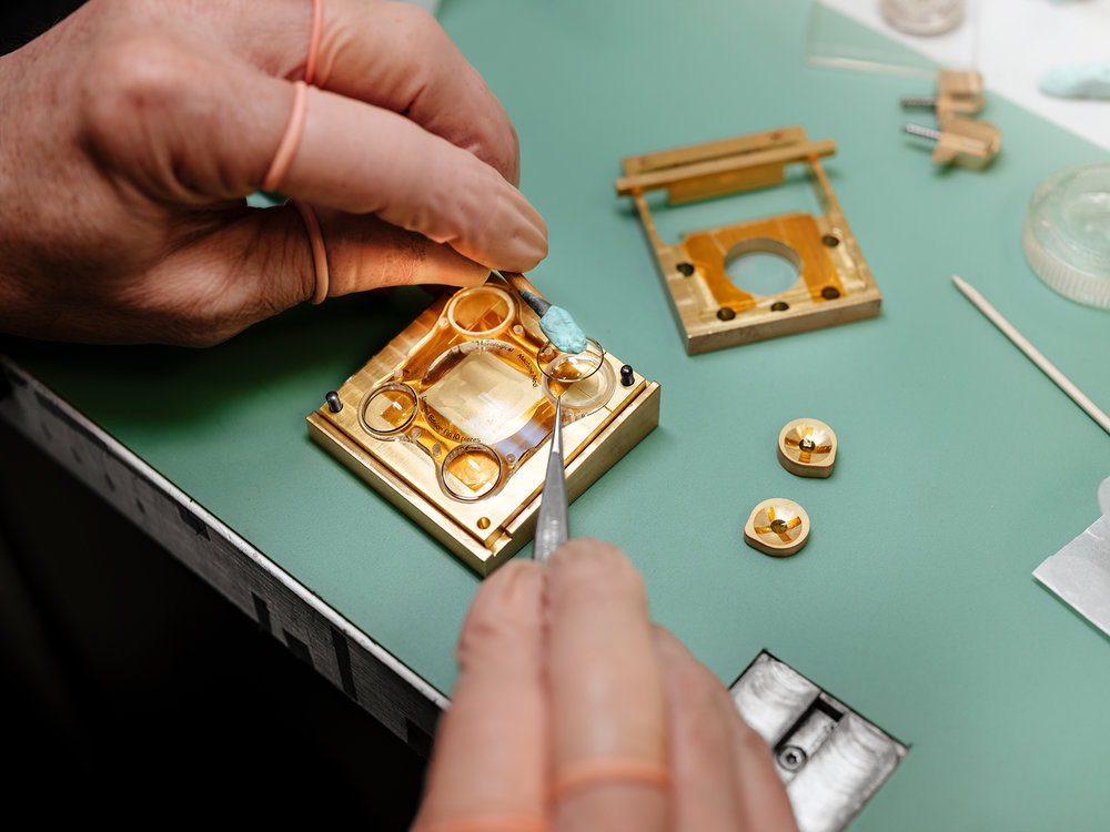 Assembly of the case in sapphire crystal of an SV edition of Horological Machine No.6 - aka HM6-SV at the MB&F atelier.