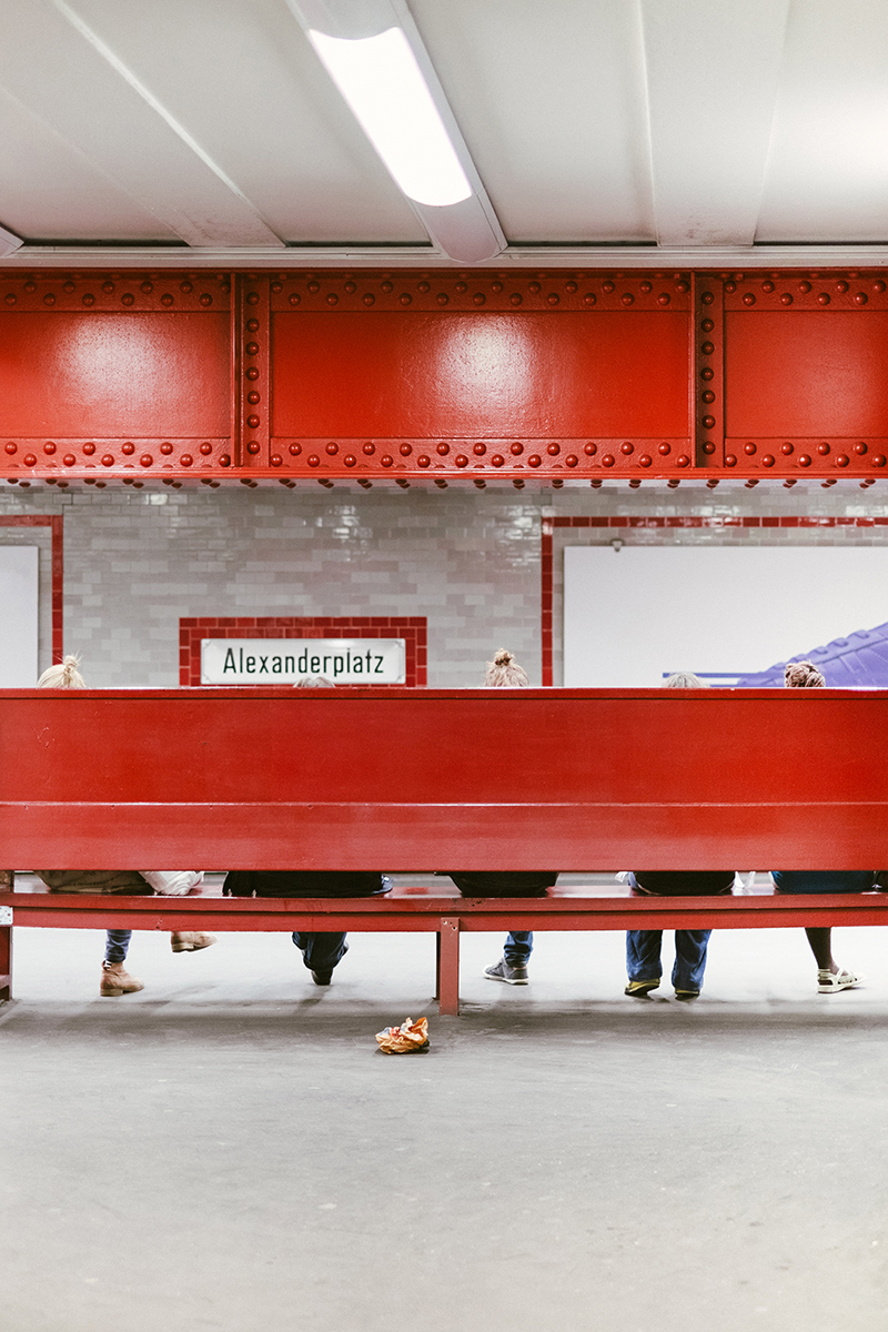Waiting for the U-Bahn at Alexanderplatz.