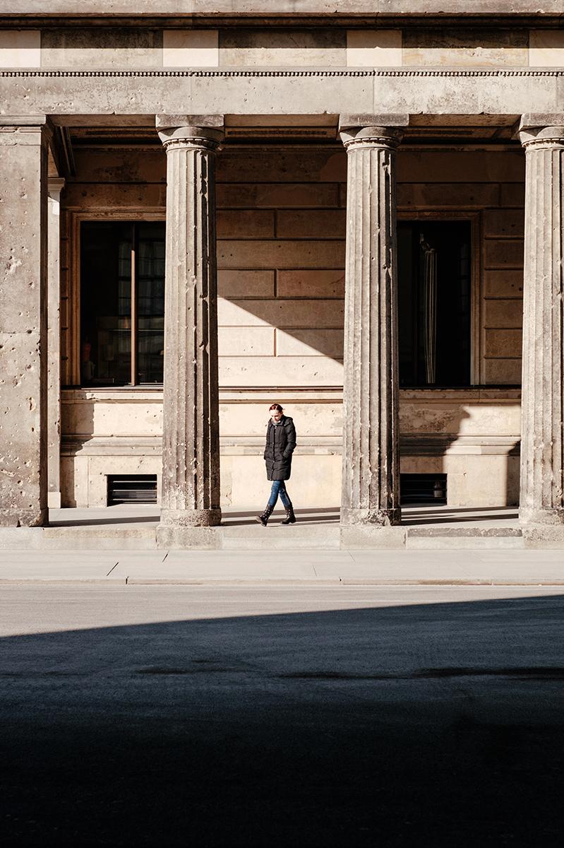 Walking between the columns of Museum island.