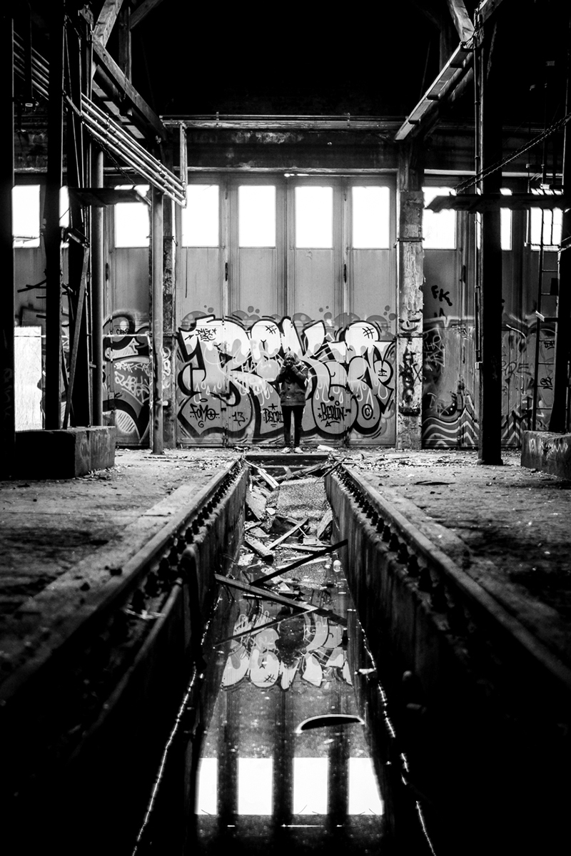 Exploring an abandoned train maintenance facility.