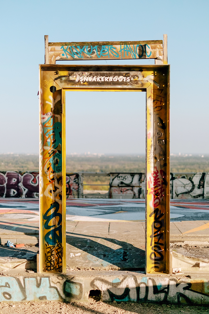 A door leading to nowhere at the top of Teufelsberg radar site.