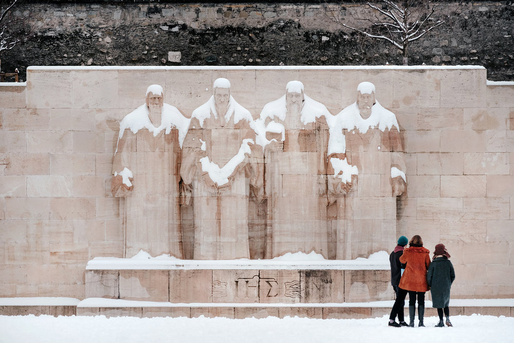 The Reformation wall under the snow in Parc des Bastions.