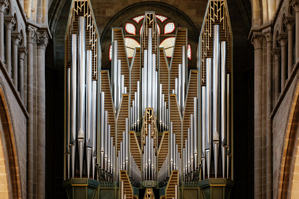 The pipe organ of the St. Pierre Cathedral in the old town.