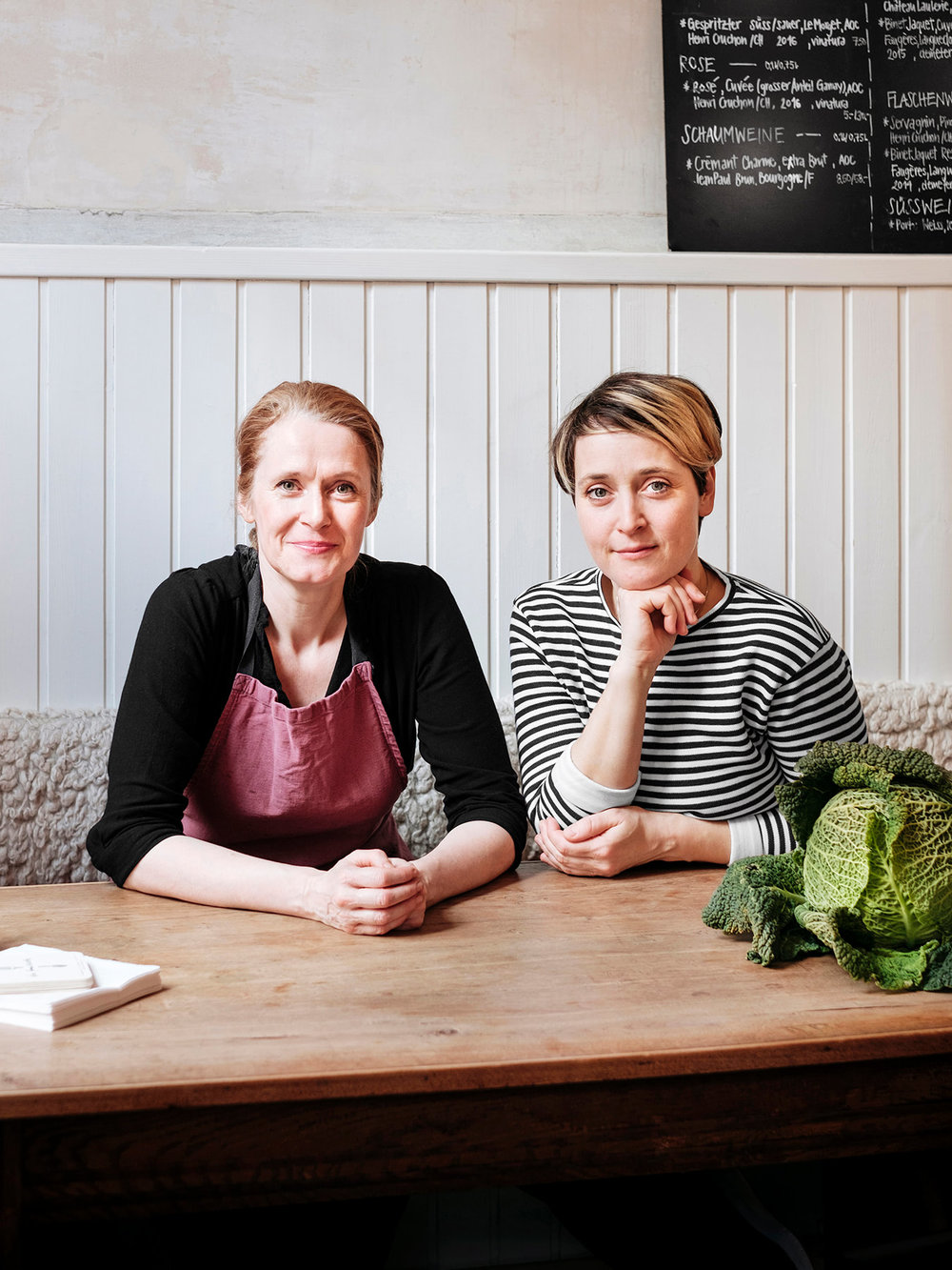 "Portrait of Claire Guerrier and Maya Totaro owners of Bio restaurant ""La Fourchette"" in Basel, Switzerland. Shot for a Monocle travel guide."