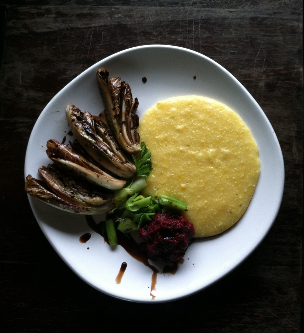 seared radicchio with polenta and beet puree.JPG