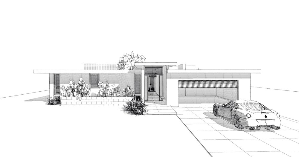 "A ""to be built"" spec house mid century modern home design-north entry view"