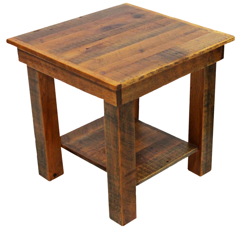 End tables reclaimed rustic woodworks rrl84 prescott large square end table with shelf 24w x 24d x 24h watchthetrailerfo