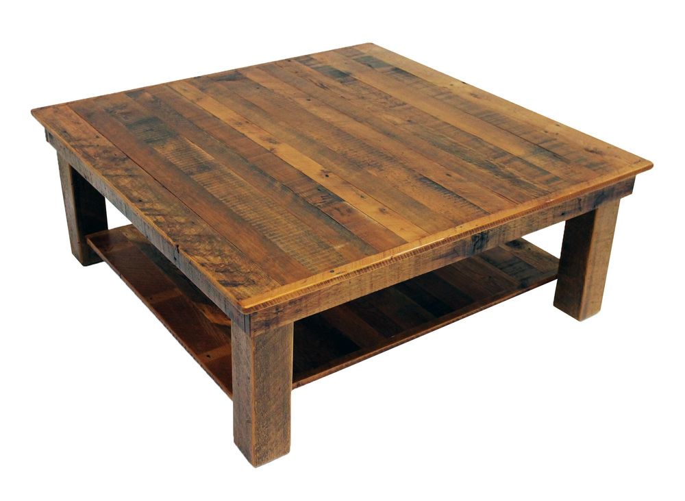 Coffee tables reclaimed rustic woodworks Square coffee table with shelf