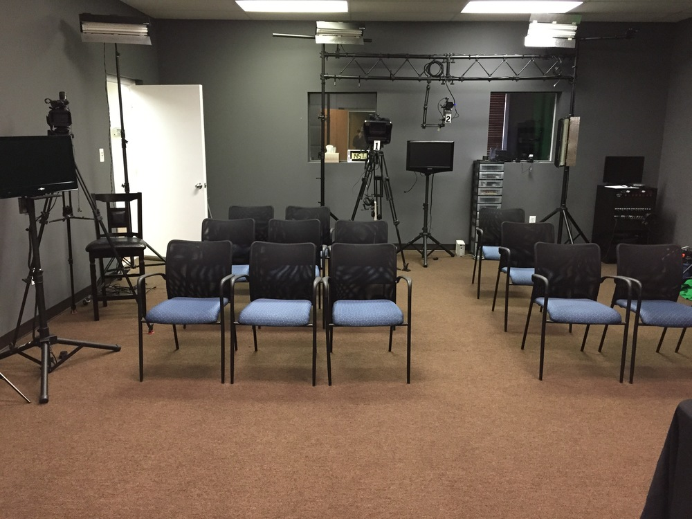 Studio set up for a live webcast with an audience.