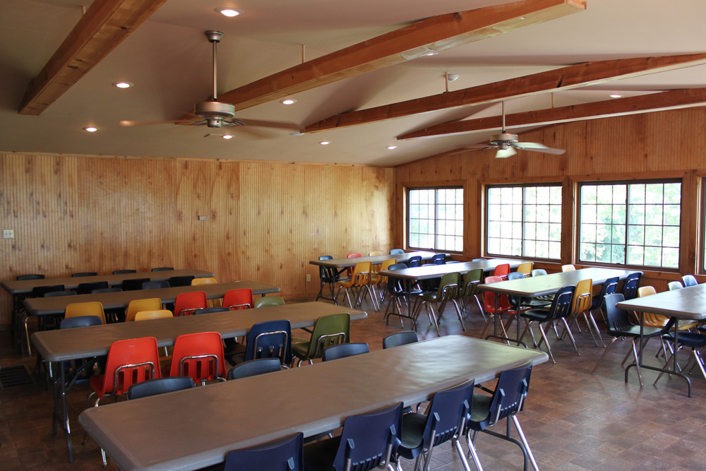 Large seating capacity including twenty, 6' tables and approximately 140 stacking chairs.