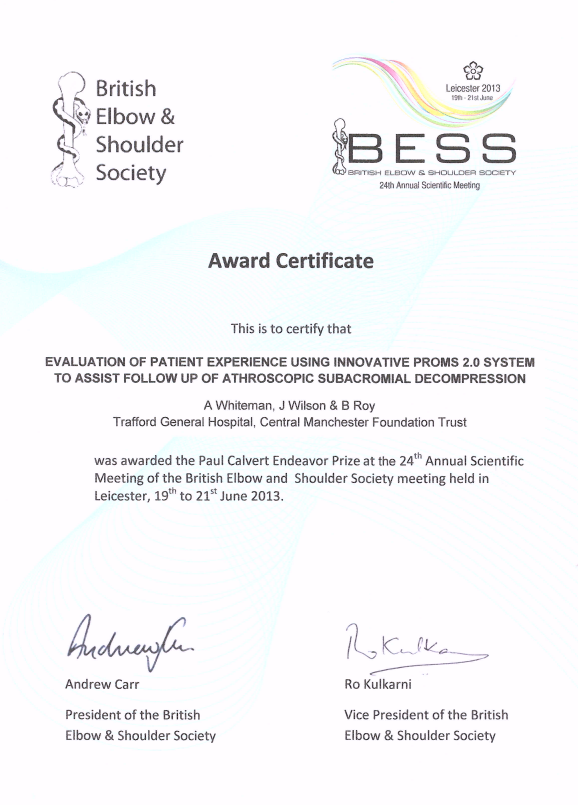 BESS prize certificate