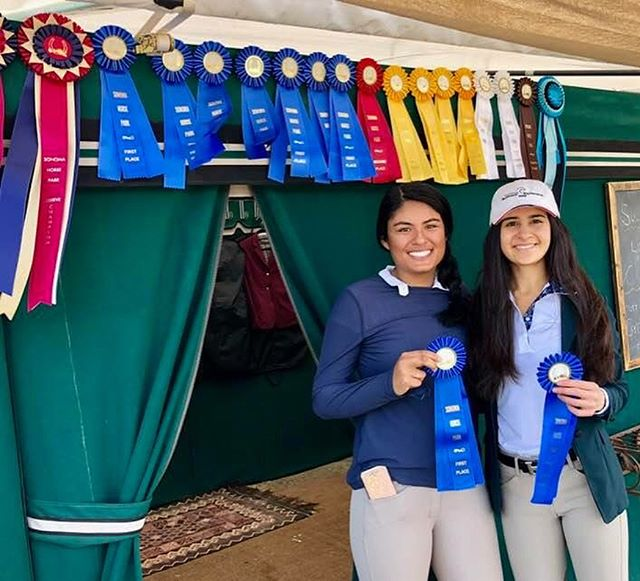 Big Double Win for these girls. Asha Malani  and Sabrina Jain with Cognac and Idea K win the Children's Jumpers and The AA Jumpers at the Sonoma Horse Park. Way to go girls and the great CF Team.👍🏼👍🏼🤠