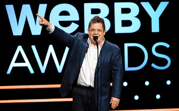 Patton Oswalt hosting the 2013 Webby Awards.